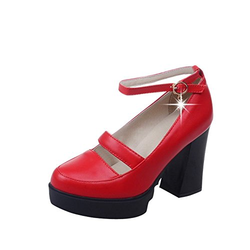 Latasa Womens Fashion Platform Block High Heel Pumps Shoes With Buckle Red gYxQ1fBqx