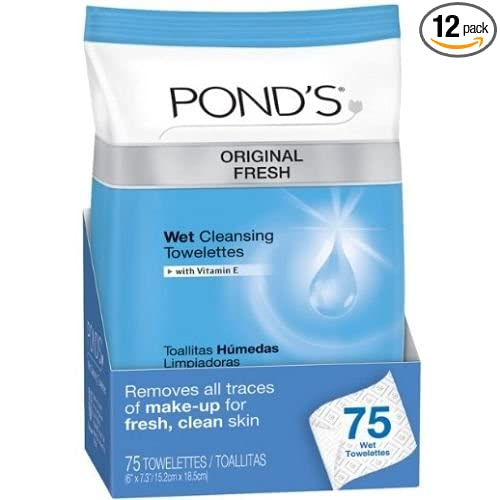 Amazon.com: Ponds Original Fresh Wet Cleansing Towelettes, 75 count per pack - 12 per case.: Health & Personal Care