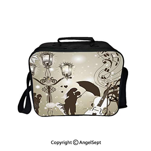 Lunch Box Carry Case Handbags,Kissing Couples on Street