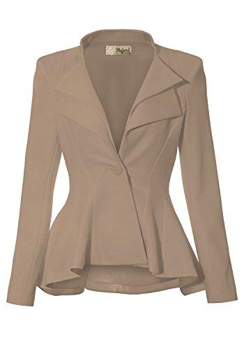 Women Double Notch Lapel Office Blazer JK43864 1073T Beige/Khak S