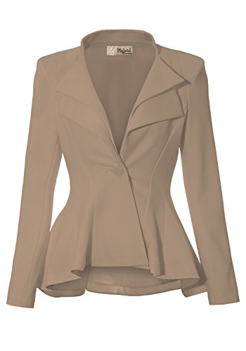 (Women Double Notch Lapel Office Blazer JK43864 1073T Beige/Khak M)