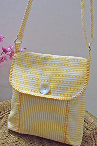 - Panigha Handmade India Golden Yellow n white pin stripe Cross body/Sling Bag with flap and zipper and long adjustable belts