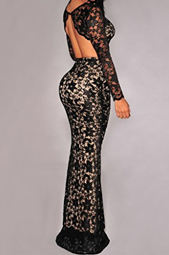 Dear-Lover® Women's Lace Open Back Long Sleeves Maxi Skirt Set One Size Black