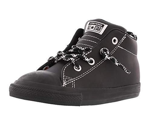 Converse Boys' Chuck Taylor All Star Leather Street Mid Sneaker, Black/White, 8 M US Toddler