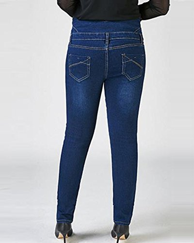 Eleganti Slim Jeans Vita Casual Blu Stretch Pantaloni Alta Donna Denim Skinny Jeggings TwqwR10
