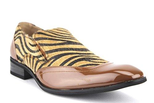 Majestic Men's 99525 Exotic Print Faux Pony Hair Leopard Zebra Patent Loafers Shoes, Tan/Tan, 8.5