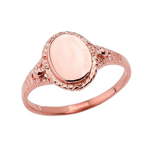 Enchanting 10k Rose Gold Milgrain Engravable Oval Signet Ring (Size 5.25)