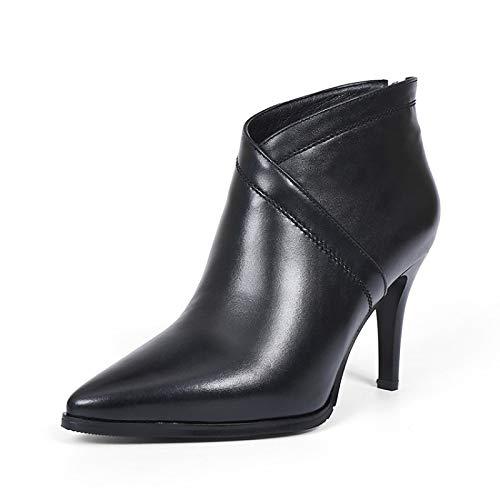 ZHZNVX ZHZNVX ZHZNVX Scarpe da Donna in Pelle Nappa Autunno & Inverno Comfort Stivali Tacco a Spillo Nero Vino, Nero, US6.5-7   EU37   UK4.5-5   CN37 7e0275