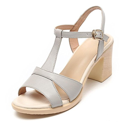 QL@YC Damen Sandalen High Heels Fisch Mund Sommer Leder Non Slip Casual Rough Soft Bottom Kleid Damenschuhe , white , 39