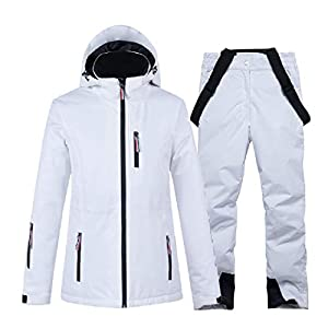 PEIN Men/Woman/Ski Suits/Jacket And Pants/Windproof And Waterproof Outdoor Clothes/Winter Sports/white Top/white Pants/Couple Suit,ski suits-XL
