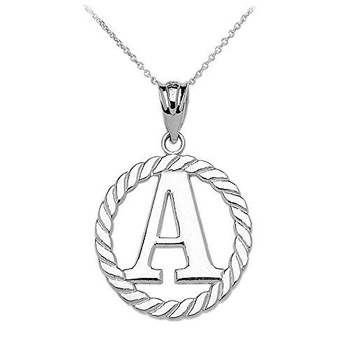 """Collier Femme Pendentif 14 Ct Or Blanc """"A"""" Initiale À Corde Cercle (Livré avec une 45cm Chaîne)"""