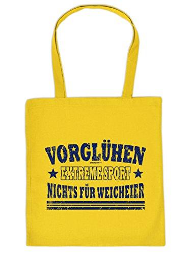 Tasche auch für Weihnachten. Henkeltasche mit Aufdruck: VORGLÜHEN. Diese Einkaufstasche ist eine tolle Geschenkidee.