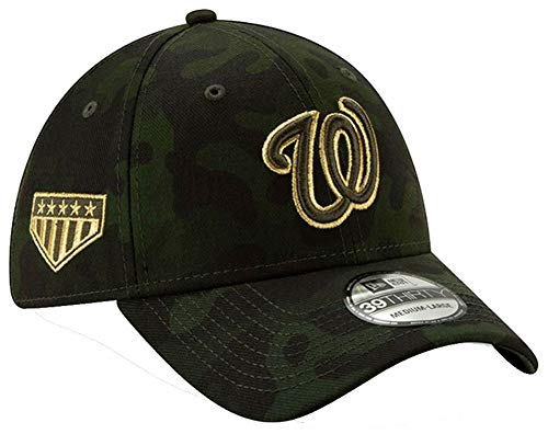 New Era 2019 MLB Washington Nationals Hat Cap Armed Forces Day 39Thirty (L/XL) Green/Gold (Washington Nationals Green Hat)