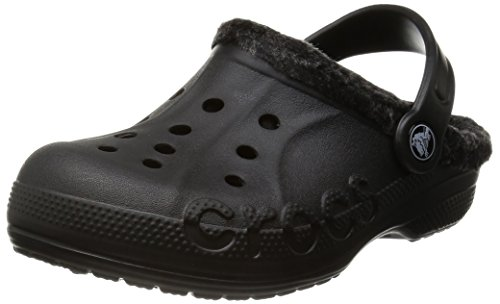 Crocs Kids Unisex Baya Heathered Lined Clog  Black/Black Clo