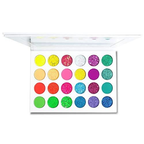24 Bright Colors Eye Shadow Palette Matte Eyeshadow Makeup Palette Long Lasting Waterproof Neon Colorful Glitter Cosmetics,Glow in the Dark (24SWS)