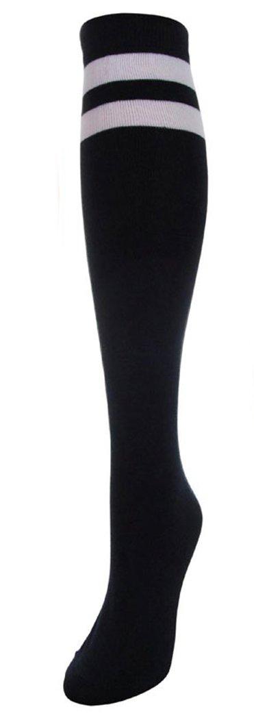 J.Ann Women's 2 White Stripe Cotton Referee/Soccer Knee High Socks, Size:9-11 (Black)