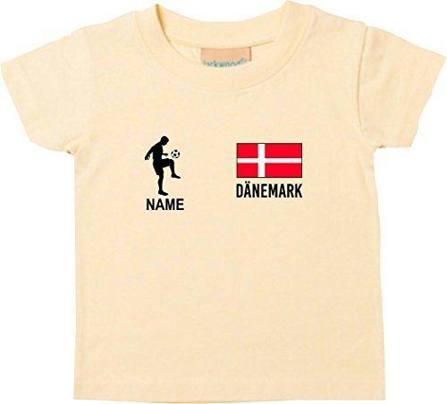 Shirtstown Kids Camiseta Camiseta de Fútbol Dinamarca con Su Nombre Deseado Estampado - Amarillo Claro,