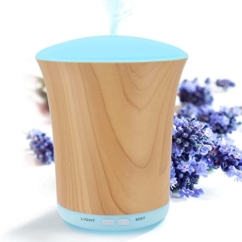 LUSCREAL Essential Oil Diffuser Woodgrain, 200ml Aromatherapy Diffusers for Essential Oils and Humidifiers with Adjustable Mist Mode, Auto Shut-off, 8 Colors Light for Home Gift 41j2j8KTthL