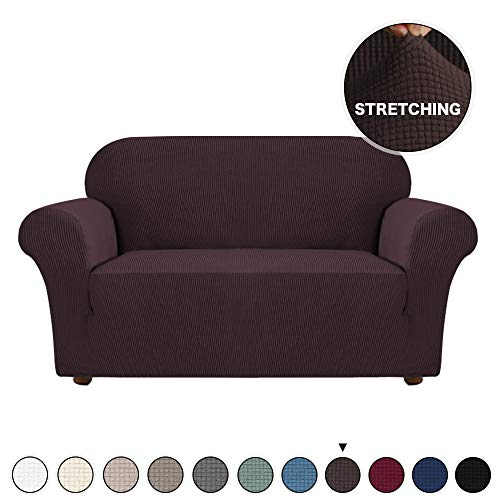 Turquoize 1 Piece Slipcovers for Couches and Loveseats Stretch Sofa Cover for Living Room Furniture Cover/Protector for 2 Cushion Couch Cover Spandex Stylish Sofa Protector for Pet (Loveseat, Brown)