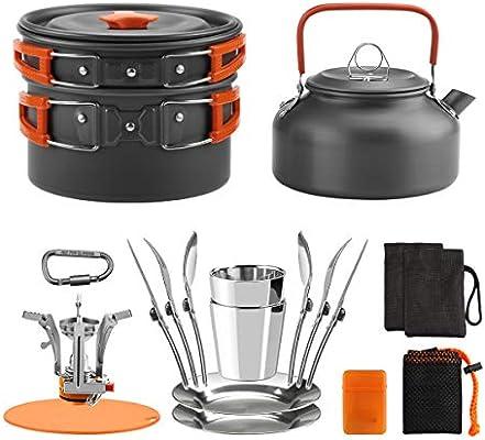 Awroutdoor Utensilios Cocina Camping Kit con Estufa Trekking, 1.2 L Ollas Camping y 0.6 L Sartén, Taza de Acero Inoxidable, Cubiertos Plegable - Cacerolas de Acampada de Camping y Viaje: Amazon.es: Deportes
