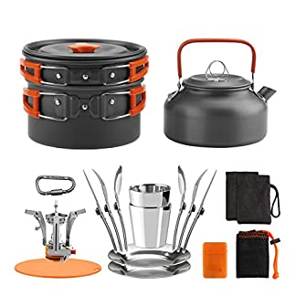 Awroutdoor Camping Cookware Kettle Set with Gas Stove for Traveling Picnic,Suitable for 2-3 Persons 7