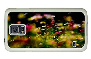 Hipster Samsung Galaxy S5 Case sparkly colorful flowers field PC White for Samsung S5