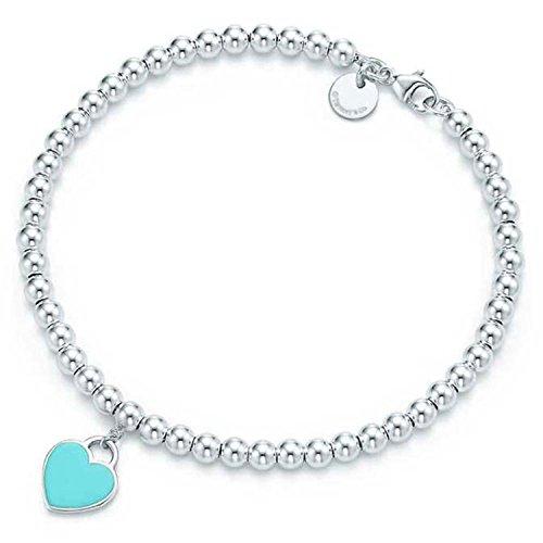 SILVERLIGHT Blue Heart Tag Beads Bracelet with Enamel - To Tiffany Return