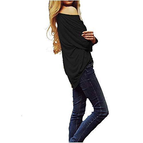 Vintage Collo Schwarz Lunga Lunghe Maniche Monocromo Autunno Camicetta Blusa Manica Donne Fashion Camicia Tops Casuale Donna Elegante Battercake Rotondo Primaverile Plus Irregolare A Prodotto TwqptZgnx