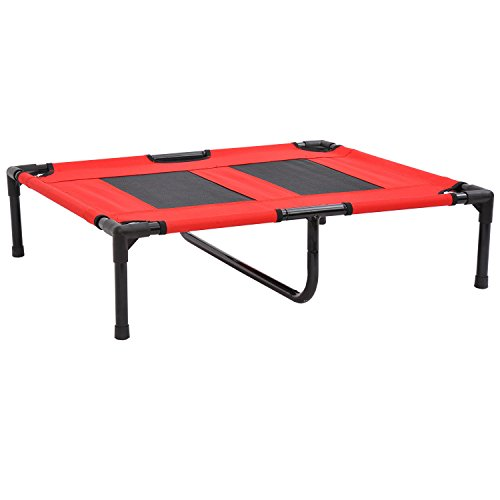 """PawHut 36"""" x 30"""" Elevated Cooling Summer Dog Cot Pet Bed Wit"""