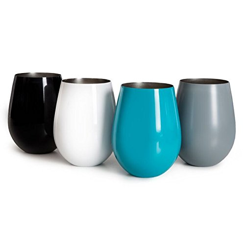 Sips Of Slainte Stemless Stainless Steel Wine Glasses (White, Grey, Black, Turquoise)