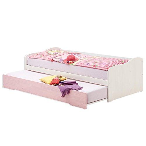 Funktionsbett LILLI Auszugsbett Tandembett Sofabett Kiefer massiv weiss/rosa lackiert 90 x 200 cm (B x L)