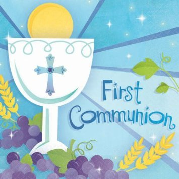 Blue First Communion Invite/ Thank You Value (First Communion Invites)