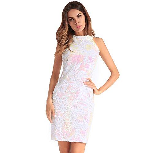 FOLOBE lentejuelas de la mujer vestido de noche vestido de fiesta White