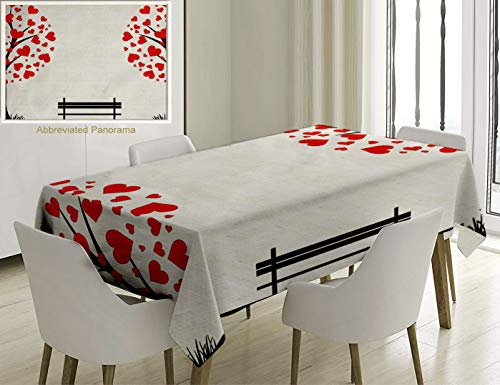 48 Hearth Rectangle (Unique Custom Cotton And Linen Blend Tablecloth Tree Of Life Decor Trees Made With Hearth Shaped Leaves And A Bench Love Romance Nature DesiTablecovers For Rectangle Tables, Small Size 48 x 24 Inches)