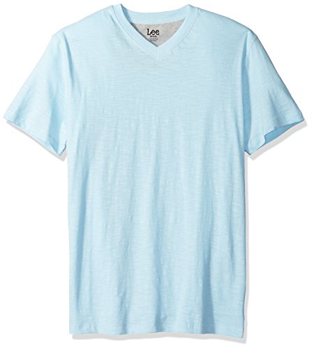 LEE Men's Short Sleeve Casual V Neck T Shirt Regular Big Tall, Light Blue, XXL