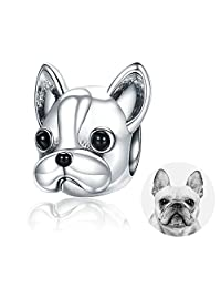 FOREVER QUEEN Animal Charms, 925 Sterling Silver Mermaid Charms French Bulldog Doggy Animal Pet Bead Charms fit Pandora Bracelets Jewelry