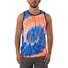Exist Men's Tie Dye 100% Cotton Sleeveless Colorful Party Tank Top T-Shirt