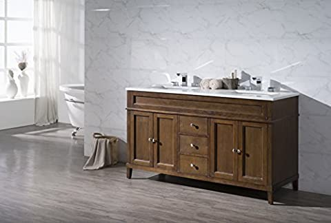 Stufurhome TY-7615-59-QZ Double Sink Bathroom Vanity Set, 59