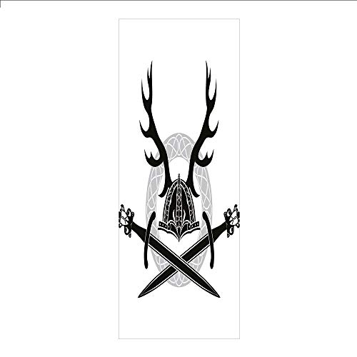 3D Decorative Film Privacy Window Film No Glue,Antler Decor,Helmet with Antlers and Viking Swords Celtic Circle Medieval Barbarian Decorative,Black White Silver,for Home&Office