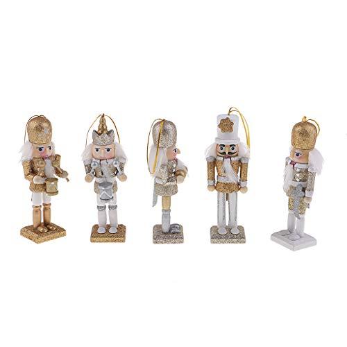 SM SunniMix 5x 12 Cm Cascanueces Solider Figura Modelo Marioneta Muñeca De Juguete Decoración Del Hogar Regalo