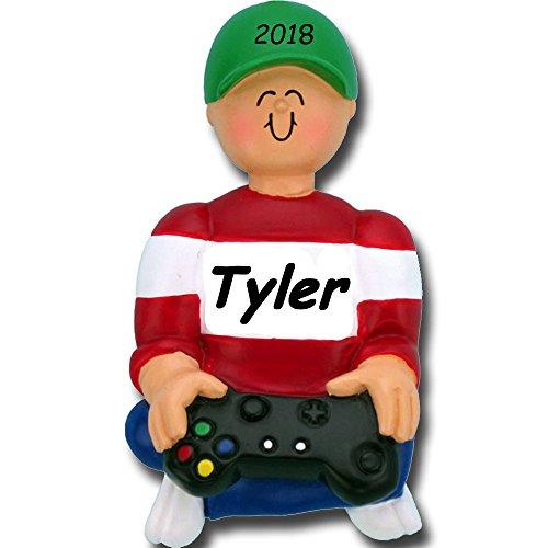Personalized Ornament Name (Personalized Video Game Player Gamer Christmas Ornament with Your Choice of Name and Year)