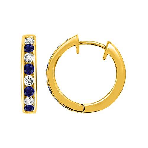 IGI Certified 14k Yellow Gold Hoop Huggies Earrings with Diamond & Blue Sapphire Color Stone (1/2 carat) 14k Yellow Gold Sapphire Hoop Earrings
