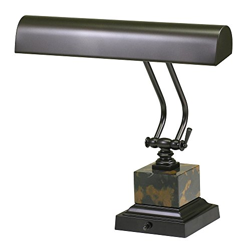 - House of Troy P14-280 12-Inch Portable Desk/Piano Lamp, Mahogany Bronze with Black and Tan Marble
