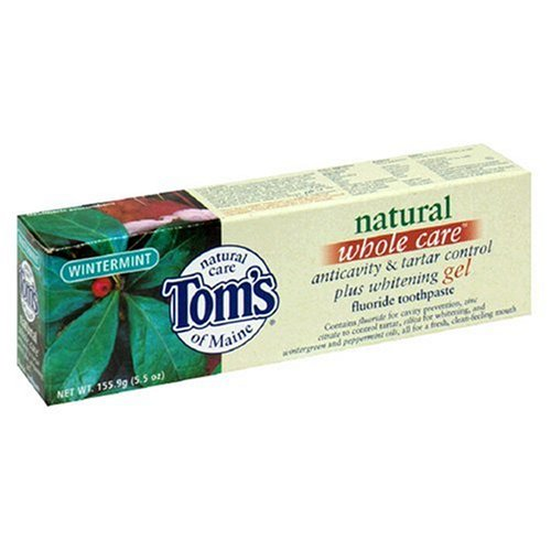 Tom's of Maine Whole Care Natural Fluoride Toothpaste, Anticavity & Tartar Control Plus Whitening Gel, Wintermint, 5.5 oz (155.9 g) (Pack of 6) ()