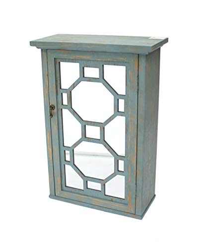Benjara Wood and Mirror Storage Cabinet with Geometric Details, Blue and Silver
