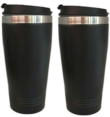 Stainless Steel Coffee Mug, Travel Mug, Desk Mug,16oz. with screw on Lid. (Black) (2)