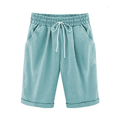 Striped Seersucker Bermuda Shorts (Gooket Women's Casual Elastic Waist Knee-Length Curling Bermuda Shorts Turquoise Tag XL-US 6)