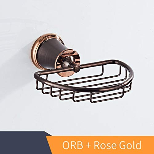 Basket Bathroom Products Solid Brass Soap Dish/Holder Holder Soap Box for Bathroom Accessories, Kejing Miao11, Orb and Rose Gold ()