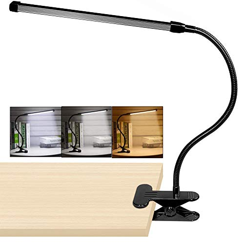 - 10W LED Clip on Lamp, Desk Light with 3 Modes 2M Cable Dimmer 10 Levels Clamp Table Lights