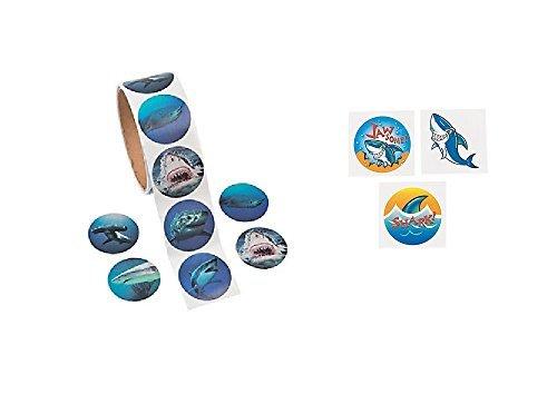 Shark Party Favors - 100 Realistic Shark Photo Stickers and 72 Shark Tattoos ()